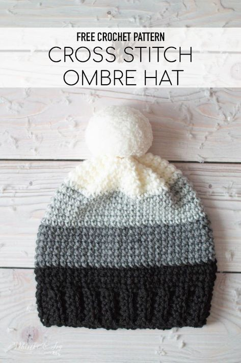 Free Pattern: Ombre Cross Stitch Sc Hat - This easy hat is made with the cross stitch sc! Achieve the look by working your sc slightly different. So easy and so pretty! patterns free hat Ombre Cross Stitch SC Hat - Free Crochet Pattern - Whistle and Ivy Crochet Preemie Hats, Crochet Adult Hat, Bonnet Crochet, Crochet Beanie Pattern, Crochet Patterns, Knitted Hat, Crochet Winter Hats, Crochet Ideas, Crochet Stitches