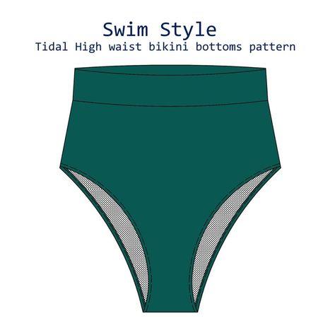 Tidal High waist bikini bottoms sewing pattern | Etsy