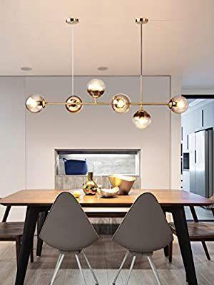 Zmh Led Pendelleuchte Esstisch Deckenleuchte Modern Hohenverstellbare Pendellampe Mit 6 Flammig E27 Gl In 2020 Pendelleuchte Esstisch Lampen Wohnzimmer Esstisch Modern