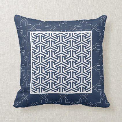 Modern Blue White Geometric Arabic Pattern Throw Pillow Zazzle