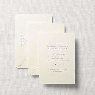 Royalty Ecruwhite Wedding Invitation with Calligraphic Motif by Crane