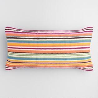 Oversized Aqua Stripe Indoor Outdoor Lumbar Pillow Lumbar Pillow