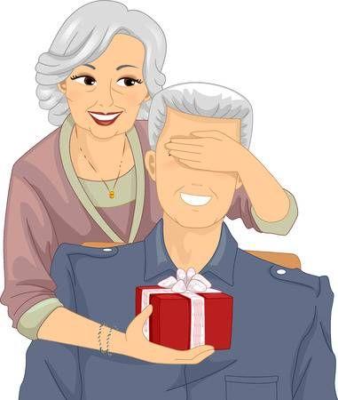 Illustration Of An Elderly Woman Surprising An Elderly Man With Illustration Elderly Man Old Couples