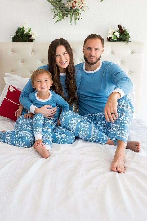 b3a90cf0e4 Blue Snowflake Kids  Pajama Set - Blue Top  Matching Family Pajamas ...