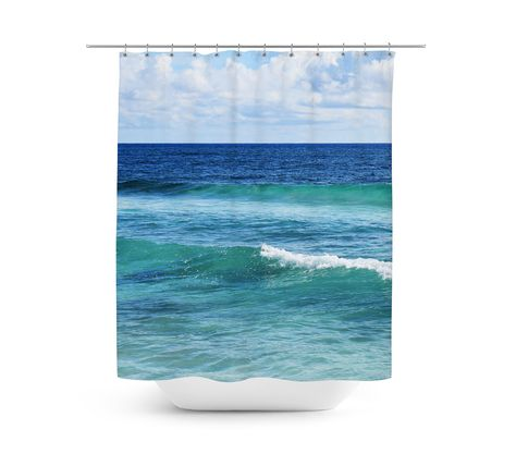 A refreshing touch of coastal accents for your vanity bathroom settings,  this hanging tub shower curtain features a nautical style blue and green  ocean surf seascape throughout! Measuring at 71x74 inches with a twelve  buttonhole eyelet rim for ease of hanging, this bohemian chic beach style  bath accent makes for a stylish backdrop accent to liven up the look and  feel of any surf themed bathroom interiors!   *Available in 71x74 inches.  **Curtain Rod, Shower Curtain Liner and Hooks Not…