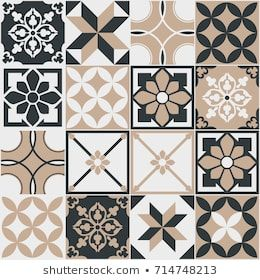 Seamless Pattern Of Tiles Vintage Decorative Design Elements Islam Arabic Indian Ottoman Handdrawn Motifs Perfect For Printing On Fabric Or Paper Brown A