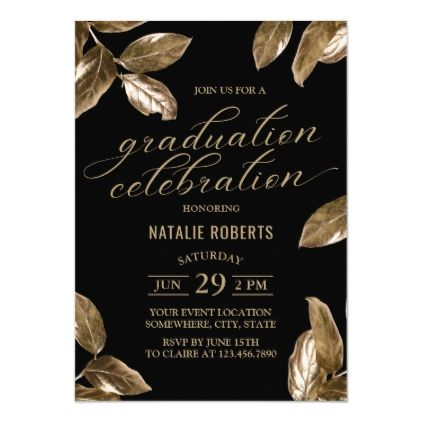 Modern Black Gold Foliage Graduation Party Invitation Zazzle Com White Wedding Invitations Wedding Paper Divas Wedding Invitations