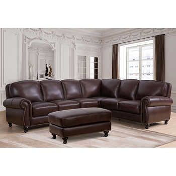 Marvelous Mortara Leather Sectional And Ottoman In 2019 Leather Ncnpc Chair Design For Home Ncnpcorg