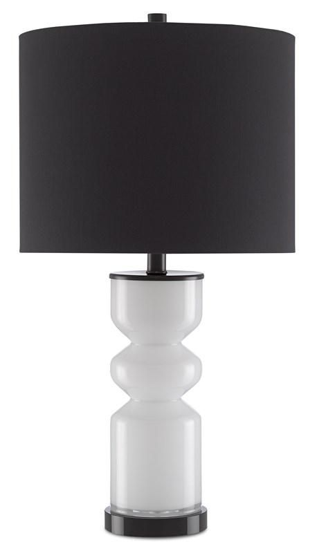 A Modern Interpretation Of A Beaker Vase The White Glass Body Of The Anabelle Table Lamp Presented By Currey And Company F Table Lamp Lamp Table Lamp Lighting