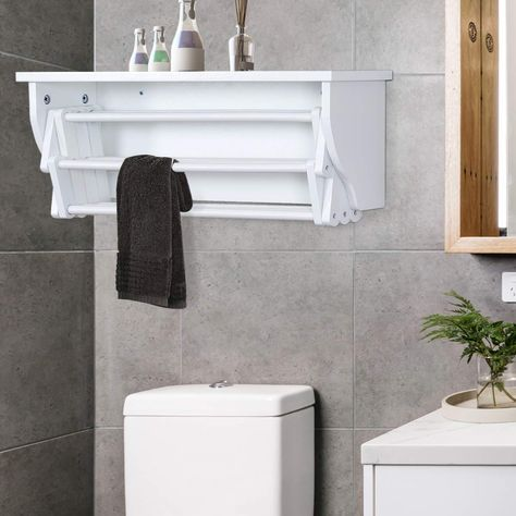 Wall Mounted Towel Rack With Shelf Has 10 Hanging Sticks To Dry Laundry As Well Especially D Wall Mounted Clothes Drying Rack Towel Rack Clothes Drying Racks