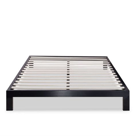 Full Size Contemporary Black Metal Platform Bed With Wooden