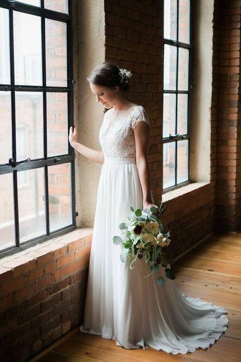 Elegant Ivory Lace Chiffon Long A Line Brush Train Cap Sleeves Beach Wedding Dresses For Bride W207