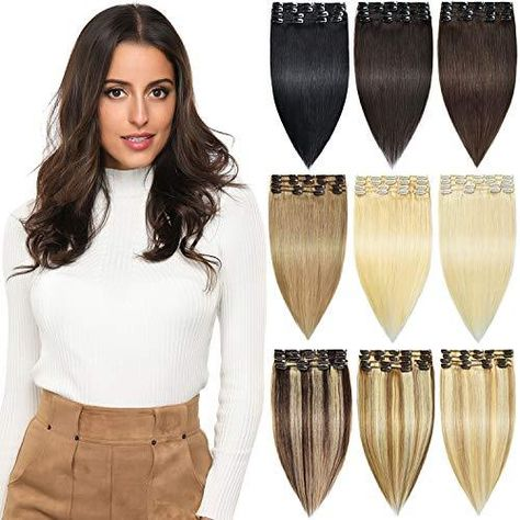 ROSEBUD Clip in Hair Extensions REMY Human Hair 8Pcs 18 Clips Set 14-22 inch - 20 Inch / 613# Bleach Blonde