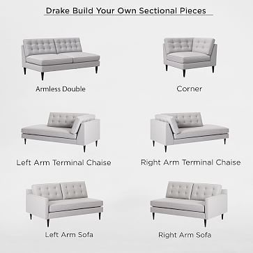 Build Your Own Drake Sectional Modern Sofa Sectional
