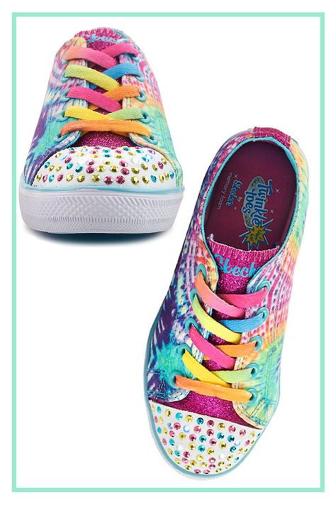 5f3ac35c40cf The Chit Chat girls  shoe by Skechers® is sparkly sweet with tons of glitter  and toes that light up! The sides feature a cheery print for ...