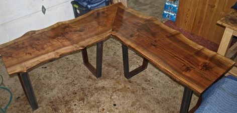 Buy A Custom Made Live Edge Walnut L Shaped Desk Made To Order From Witness Tree Studios Custommade L Shaped Desk Live Edge Wood Desk L Shaped Coffee Table