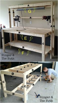 How To Build A Diy Wood Workbench Super Simple 50 Bench Building A Workbench Woodworking Furniture Diy Workbench