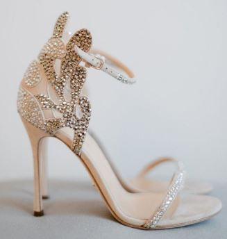 FSJ Champagne Wedding Shoes Rhinestone Stiletto Heels Bridal