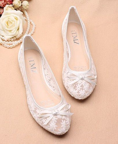 Ivory See Through Lace flats Shoes,Lace