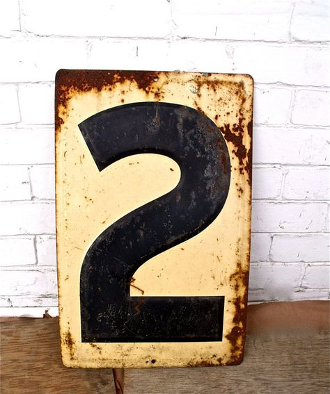 Industrial Metal Number Two Sign by SimonSaysSigns on Etsy, $25.00