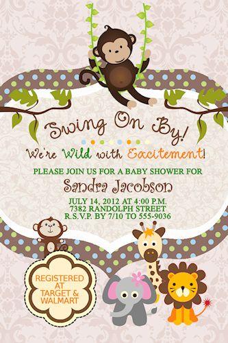 monkey polka dots elephant lion giraffe jungle baby shower, Baby shower invitations