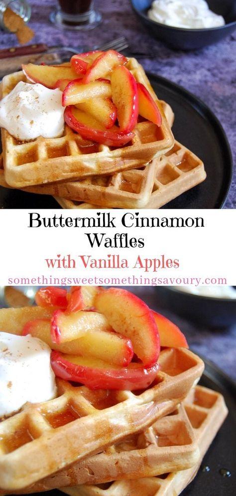 Buttermilk Cinnamon Waffles With Vanilla Apples These American Diner Style Buttermilk Cinnamon Waffles Are So Easy To Make At Cinnamon Waffles Waffles Recipes