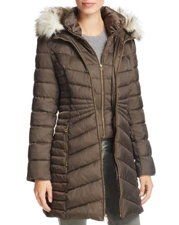 Hooded Faux Fur Trim Puffer Coat Puffer Coat Hooded Faux