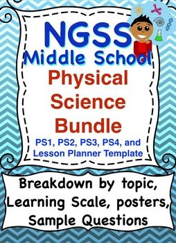 Next Generation Science Standards (NGSS): Middle School Physical Science Bundle. Breakdown of standards by topic, description, link to Common Core, Poster, learning scale for grading, key vocabulary, and sample questions. Also includes a lesson plan templateThis is a breakdown of the Middle School Next Generation Science Standards for ALL of the Physical Science Standards.