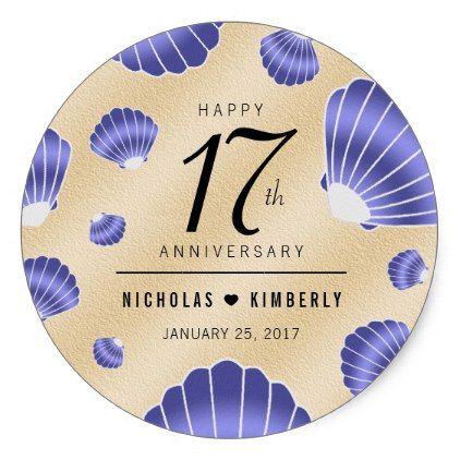 Elegant 17th Shells Beach Sand Wedding Anniversary Classic Round