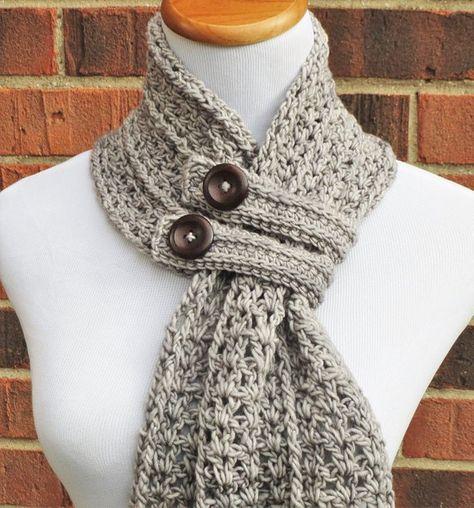 CROCHET SCARF PATTERN Crochet Cowl Button Scarf Neckwarmer | Etsy