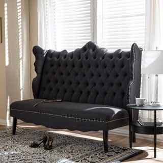 Shop for Baxton Studio Witherby Gray Linen Modern Banquette Bench. Get free delivery at Overstock - Your Online Furniture Store! Get in rewards with Club O! Banquette Bench, Settee Dining, Victorian Sofa, Online Furniture Stores, Furniture Outlet, Upholstered Bench, Baxton Studio, Love Seat, Upholstery