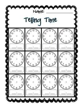 Clock Worksheet Telling Time Blank Clock Clock Worksheets Clock