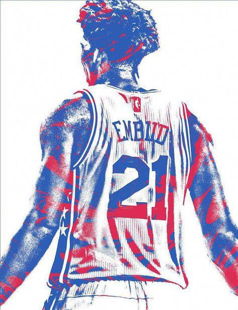 Joel Embiid Philadelphia Sixers Pixel Art 11 Art Print By