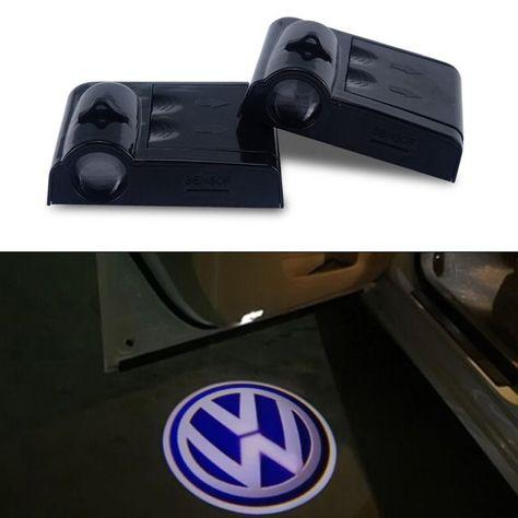 2pcs Led Door Warning Light Vw Logo Projector For Volkswagen Polo Pat B5 B6 Tiguan Golf 4 5 6 7 Touareg T5 Accessories Greatgolftips