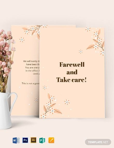 Instantly Download Simple Office Farewell Card Template Sample Example In Microsoft Word Doc Card Template Id Card Template Business Card Template Design