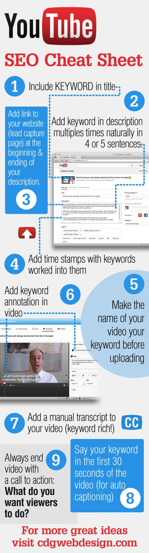 YouTube SEO Cheat Sheet | Advertising | CDG Marketing & Web Design
