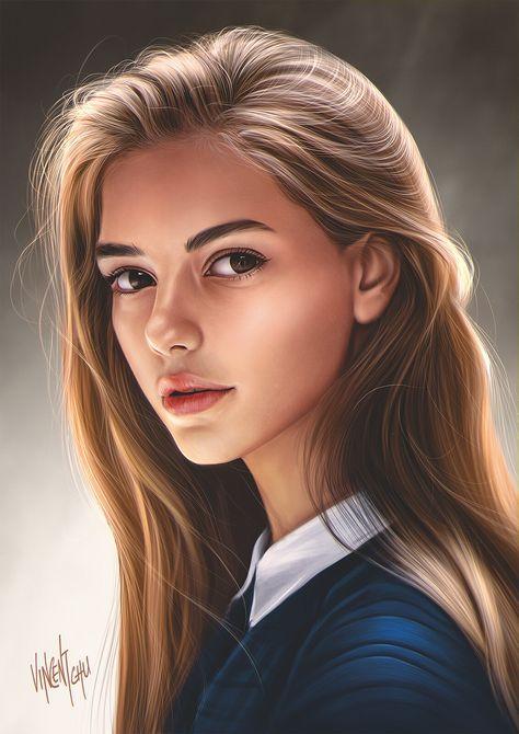 Digital Art Girl, Digital Portrait, Portrait Art, Girly Drawings, Pretty Drawings, Portrait Illustration, Illustration Girl, Beauté Blonde, Cute Girl Drawing