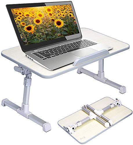 Enjoy Exclusive For Neetto Height Adjustable Laptop Bed Table Portable Lap Desk Foldable Legs Breakfast Tray Eating Notebook Computer Stand Reading Writin In 2020 Laptop Desk For Bed Portable Laptop Table
