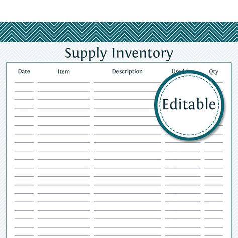 Supply Inventory Fillable Business Planner Printable