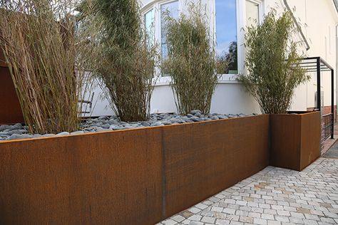 Eindrucksvolles Hochbeet Aus Corten Stahl Hochbeet Cortenstahl Und Vorgarten Garten