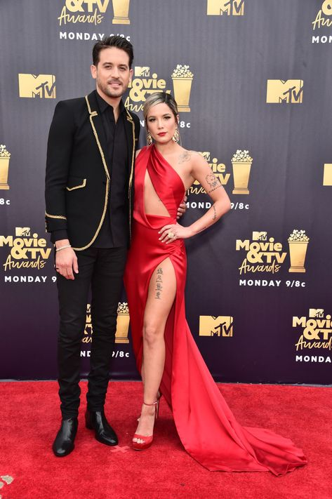 Recording artists G-Eazy and Halsey attend the 2018 MTV Movie And TV Awards at Barker Hangar on June 2018 in Santa Monica, California. Get premium, high resolution news photos at Getty Images