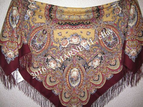 1334-17 Russischer Pawlow Posad Schal Tuch 100/% Wolle PAVLOVO POSAD SCARF