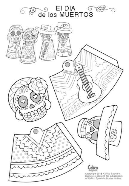 Click for PDF of Día de Muertos finger puppets. Bricolage Halloween, Adornos Halloween, Halloween Themes, Halloween Crafts, Fall Crafts, Holiday Crafts, Holiday Fun, Imprimibles Halloween, World Crafts