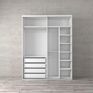 Guarda Roupa Closet Para Portas De Correr Itapua Ii Branco 178cm