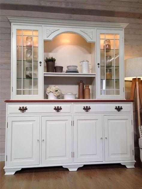 Mahogany Shabby Chic Painted Welsh Dresser Farmhouse Kitchen Unit Farrow U0026  Ball