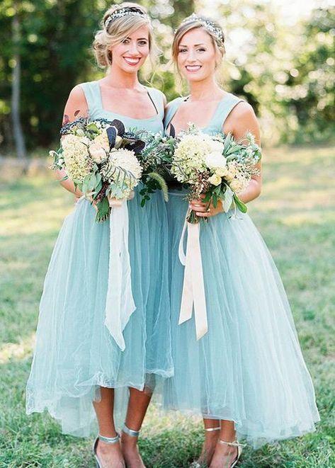 A-Line Bridesmaid Dress, Cheap Bridesmaid Dress, Light Blue Bridesmaid Dress, Bridesmaid Dress High Low, Blue Bridesmaid Dress Bridesmaid Dresses 2018