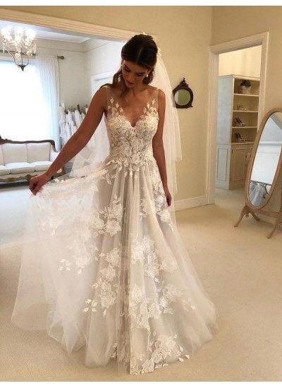 Sale Vogue Open Back Wedding Dress V Neck Wedding Dress Wedding Dresses Floor Length Wedding Dress Bridal Dresses