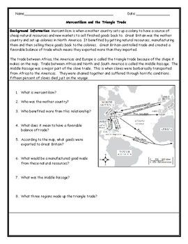 Mercantilism and Triangle Trade Map Worksheet with Answer ...