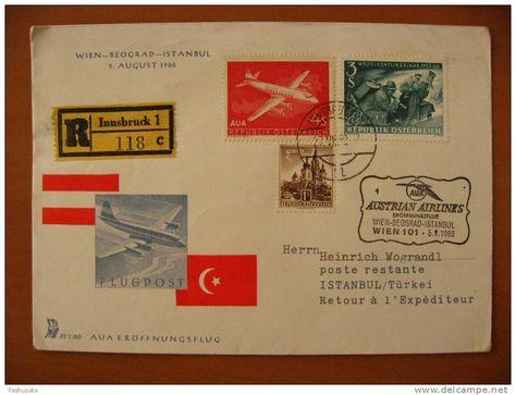 AUSTRIAN AIRLINES AVIATION - Pli 1er Vol Wien Beograd Istanbul - 05/08/1960 - ERÖFFNUNGSFLUG