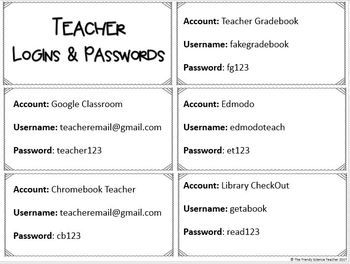 Student And Teacher Account Login And Password Cards Tpt Teacher Grade Book Teacher Teacher Technology